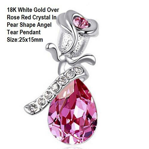 18K White Gold- Over Rose Red Crystal In Pear Shape Angel Tear German Silver Pendant Size:25x15mm