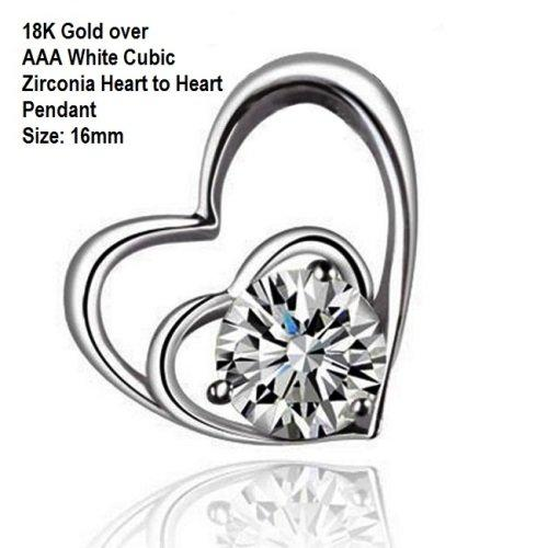 18K Gold-over AAA White Cubic Zirconia Heart to Heart Fashion German Silver Pendant Size: 16mm