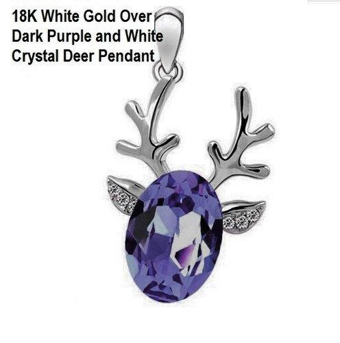 18K White Gold- Over Dark Purple and White Crystal Deer German Silver Pendant