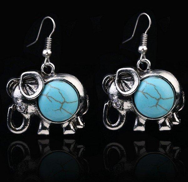 Great for Gift My Favorite Pair of Elephant Style Synthetic Turquoise Dangling German Silver Earring