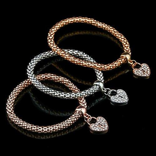 US 14KT plated High Quality 3Pcs Set Classic Gold/Silver/Rose White Zicron Fashion German Silver Bracelets
