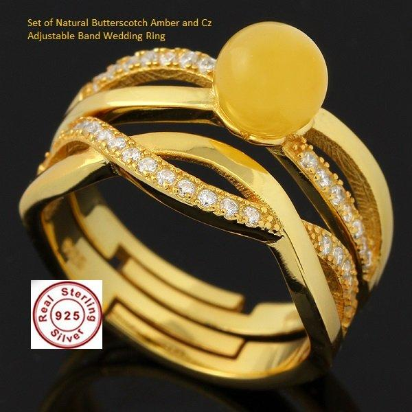 Superd Gold--Overlay 925 Silver Ring Adjustable Band set of wedding rings with natural butterscotch baltic amber