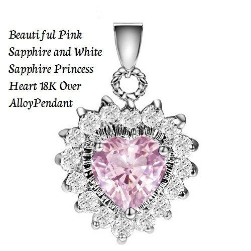Beautiful Pink Sapphire and White Sapphire Princess Heart 18K Over Alloy German Silver Pendant