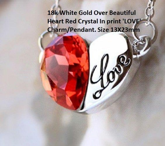 18k White Gold- Over Beautiful Heart Red Crystal In print 'LOVE' Charm/German Silver Pendant. Size 13X23mm