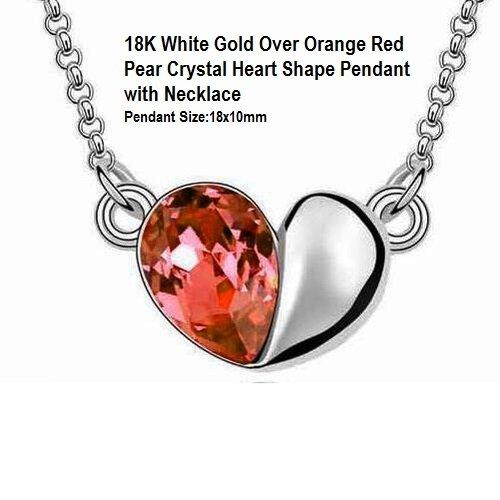 US 18K White Gold- Over Orange Red Pear Crystal Heart Shape German Silver Pendant with Necklace