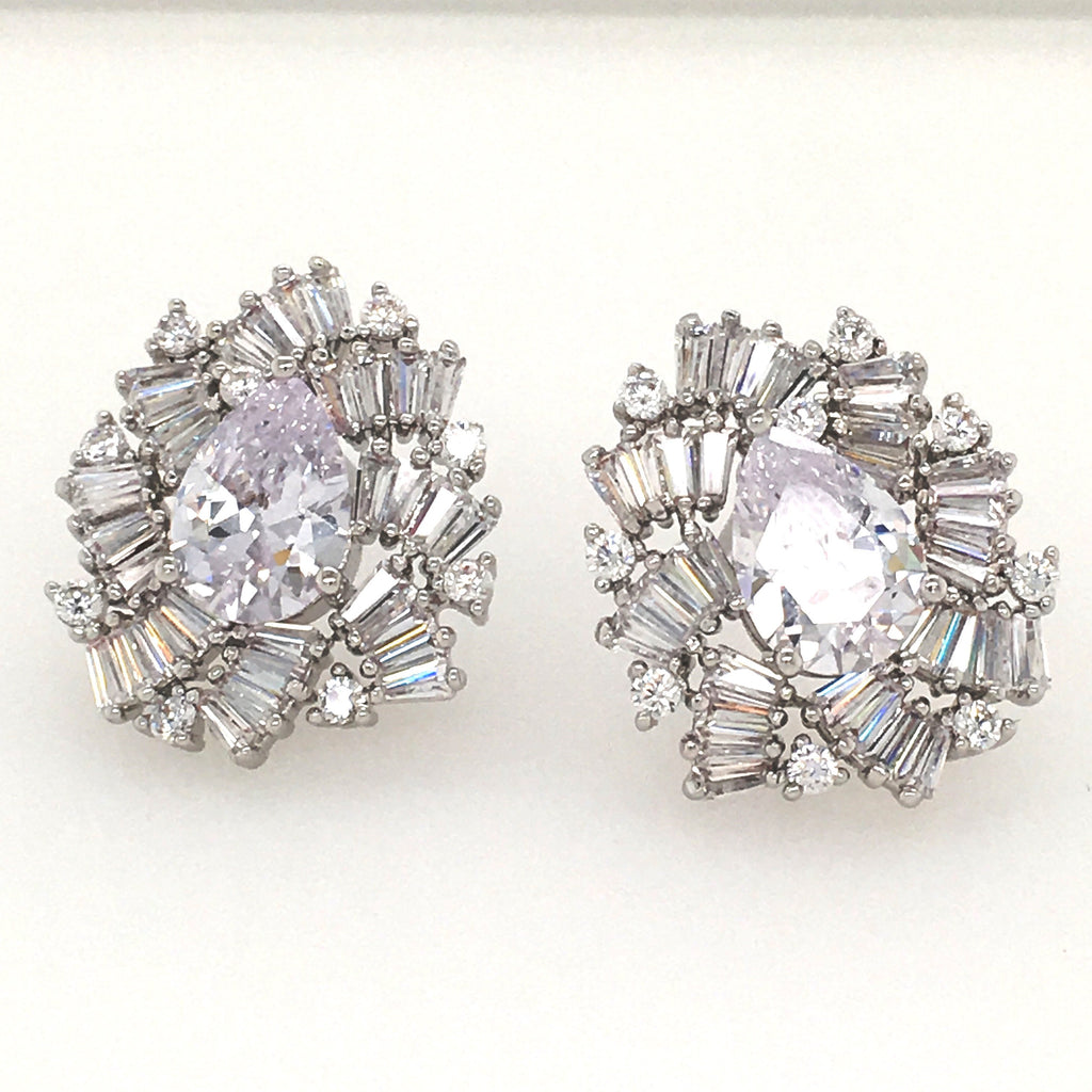 HK14KT High Quality White-Gold Plated White Zicron Ladies Fashion German Silver Earrings