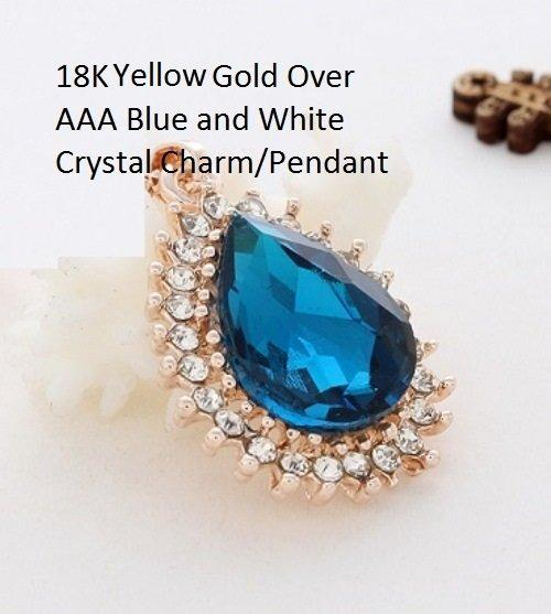 US/HK Elegant 18K Gold- Over AAA Blue and White Crystal Charm/German Silver Pendant