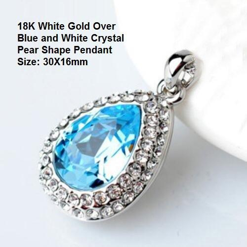 18K White Gold- Over Blue and White Crystal Pear Shape German Silver Pendant Size: 30X16mm