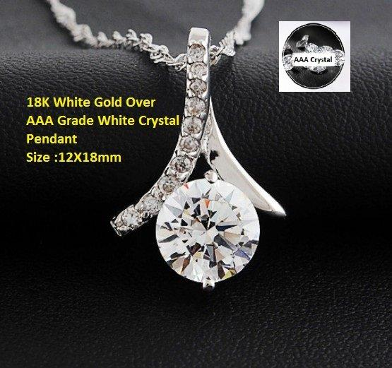 US 18K White Gold- Over AAA Grade White Crystal German Silver Pendant