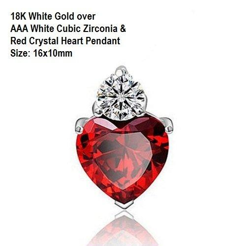 US 18K White Gold- over AAA White Cubic Zirconia & Red Crystal Heart German Silver Pendant Size: 16x10mm