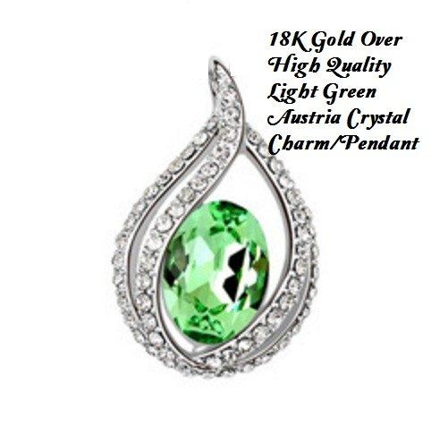 18K Gold-Over High Quality Green Austria Crystal Fashion German Silver Charm/Pendant