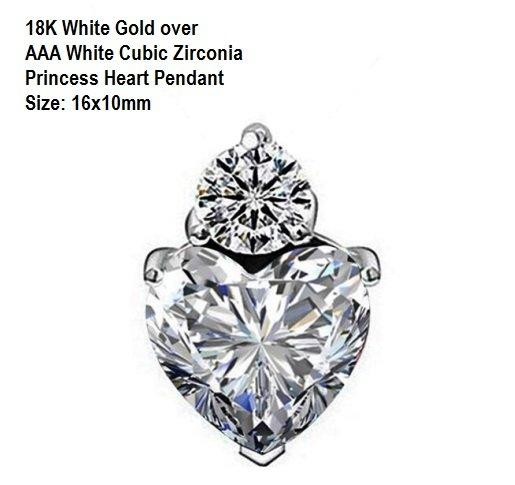 US 18K White Gold- over AAA White Cubic Zirconia Princess Heart German Silver Pendant Size: 16x10mm