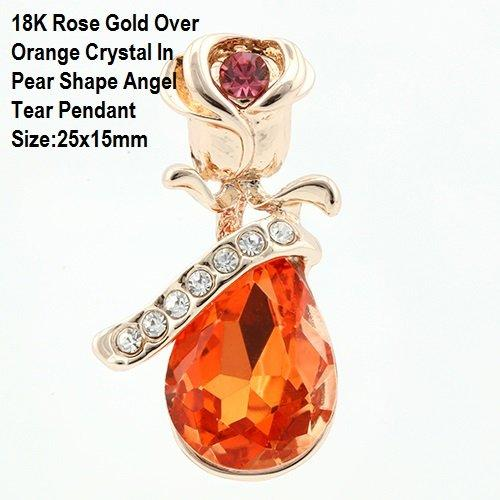US 18K Rose Gold- Over Orange Crystal In Pear Shape Angel Tear German Silver Pendant Size:25x15mm