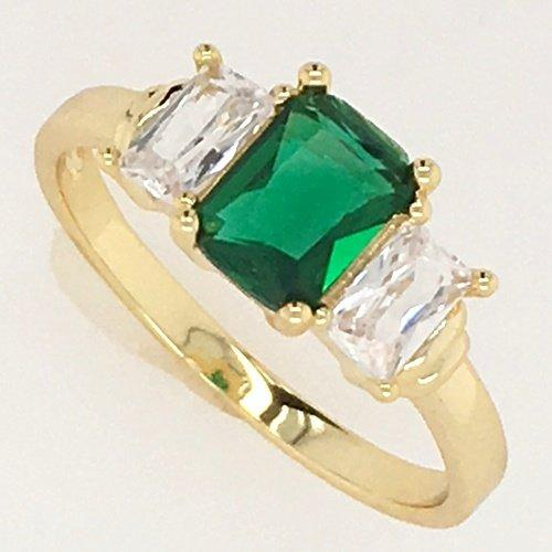 HK14KT High Quality Yellow-Gold Plated Green and White Zicron Ladies Cocktail Fashion German Silver Ring Size 7
