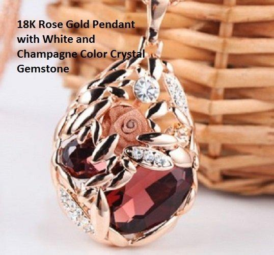 High Class Wheat Decorative 18K Rose-Gold German Silver Pendant with White and Champagne Color Crystal Gemstone