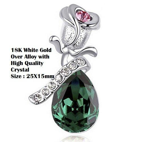 US 18K White Gold- Over Green Crystal In Pear Shape Angel Tear German Silver Pendant/Necklace