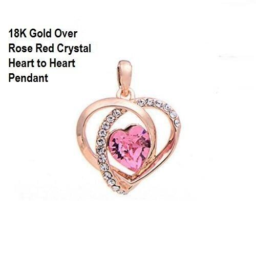 18K Rose Gold- Over Rose Red Crystal Heart to Heart German Silver Charm/Pendant