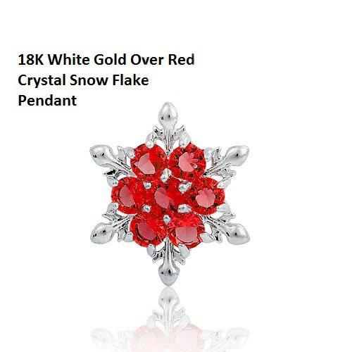 US High Class 18K White Gold- Over Red Crystal Snow Flake German Silver Pendant