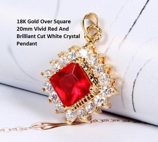 Special High Quality 18K Gold- Over Square 20mm Vivid Red And Brilliant Cut White Crystal German Silver Pendant