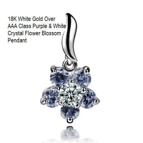 US/HK 18K White Gold- Over AAA Purple & White Crystal Flower Blossom German Silver Pendant