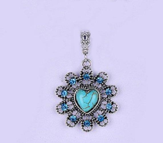 US Antique German Silver Over Hollow Flower Shape Blue Turquoise Charm/Pendant. Size :38X38mm