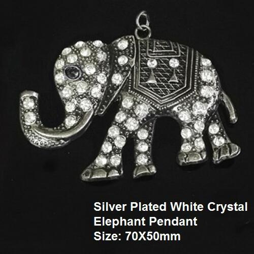 US Silver Plated White Crystal Elephant German Silver Pendant Size: 70X50mm
