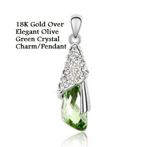 18K Gold- Over Elegant Olive Green Crystal Charm/German Silver Pendant