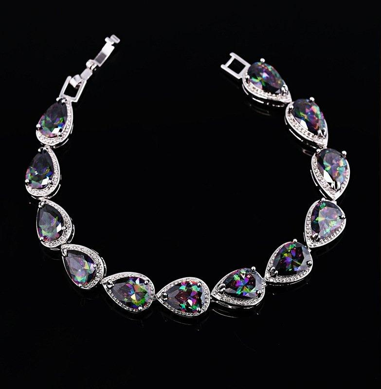 CN 14KT High Quality White Gold-Plated Zicron Ladies German Silver bracelet 6.8 inches