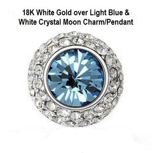 18K White Gold- over Light Blue & White Crystal Moon German Silver Pendant