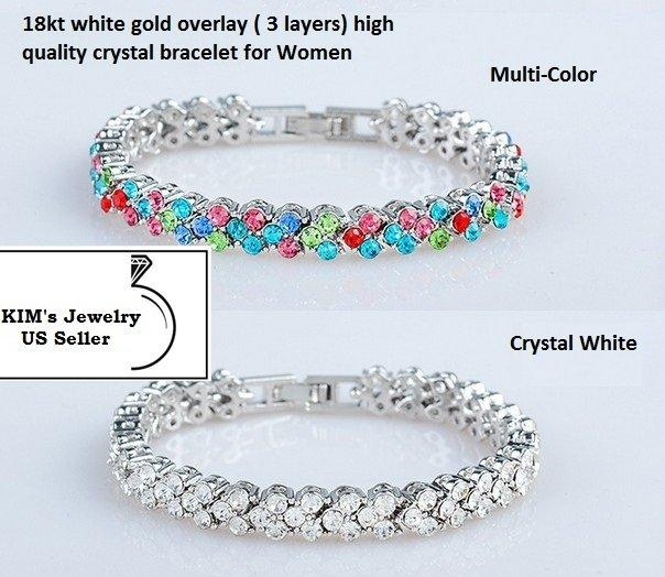 3 Layers 18kt White-Gold Overlay Women Fashion German Silver Bracelet Inlay Color Crystal-Multi-color