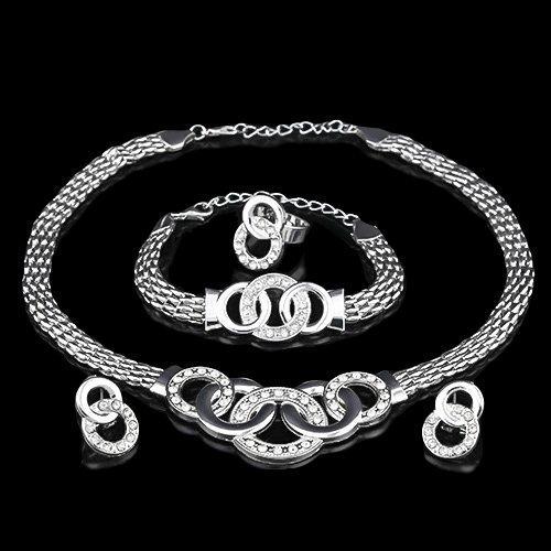 14KT High Quality white-gold plated White Zicron Handcuffs Fashion German Silver Necklace Earring Bracelet Ring Jewelry Set