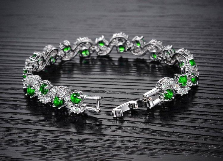 CN 14KT High Quality White Gold-Plated Green Zicron Ladies German Silver bracelet 6.6 inches