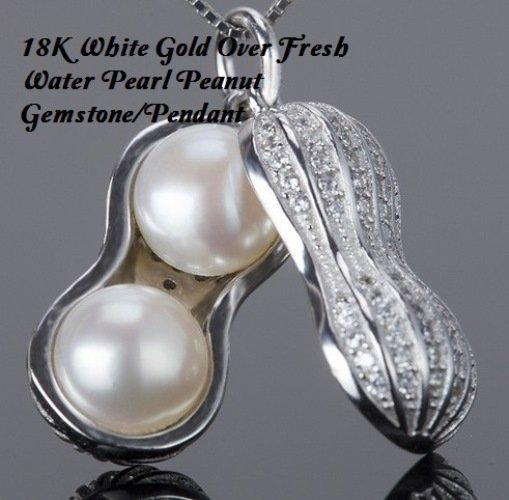 18K White Gold- Over Fresh Water Pearl Peanut German Silver Pendant