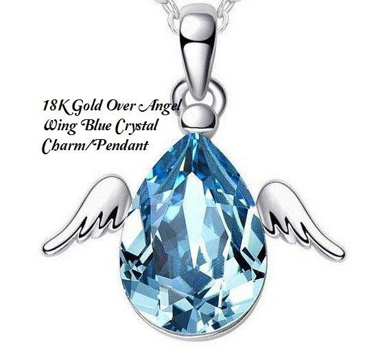18K Gold- Over Angel Wing Blue Crystal Charm/German Silver Pendant