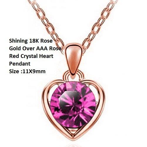 US/HK Shining 18K Rose Gold- Over Rose Red Crystal Heart German Silver Pendant