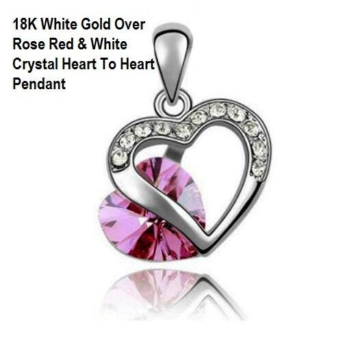 US High Quality 18K White Gold- Over Rose Red And White Crystal Heart To Heart German Silver Pendant