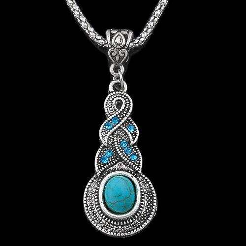 14KT High Quality blue zircon white gold-plated fashion turquoise Fashion German Silver necklace