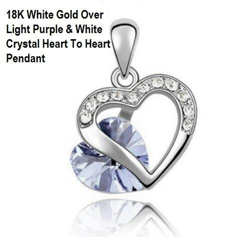 US High Quality 18K White Gold- Over Light Purple And White Crystal Heart To Heart German Silver Pendant