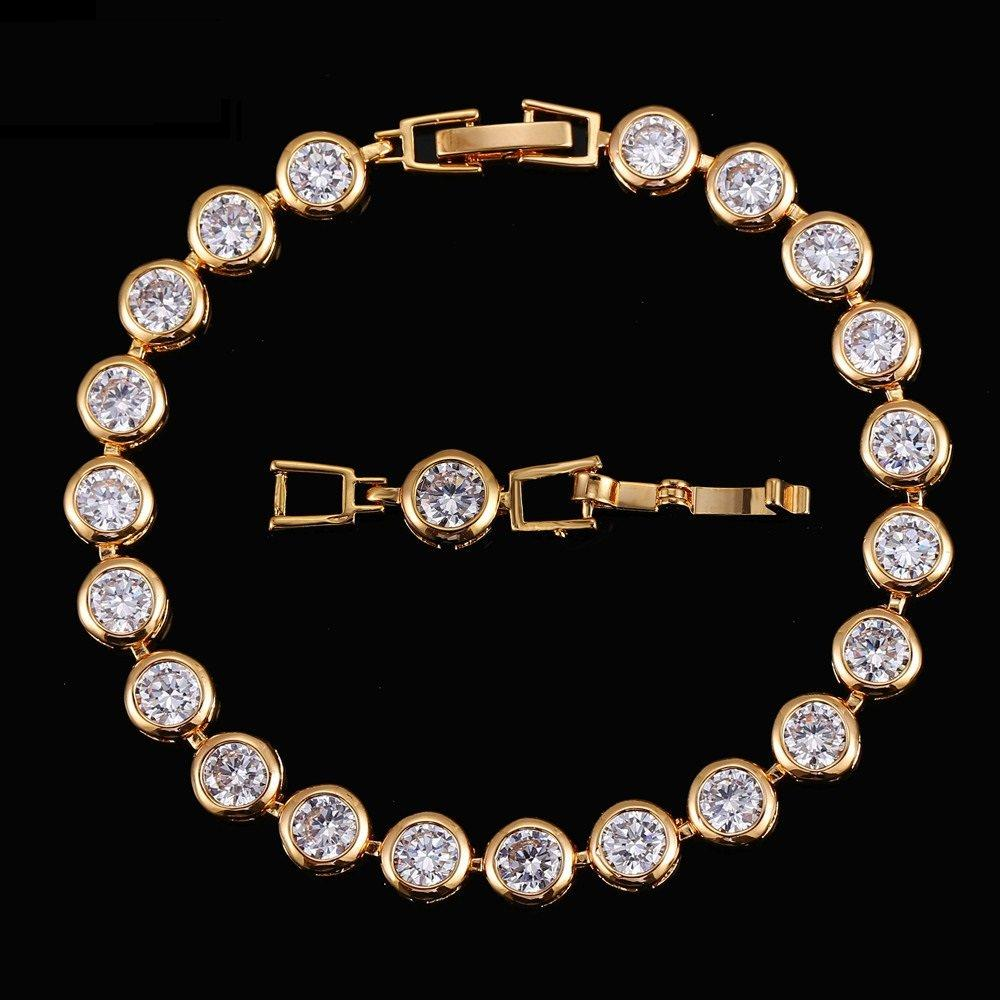 CN 14KT High Quality Gold-Plated White Zicron Ladies German Silver bracelet 7 inches
