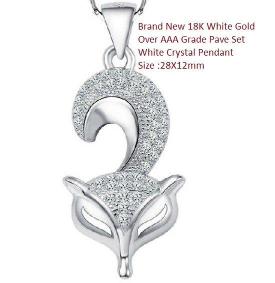 US Brand New 18K White Gold- Over AAA Grade Pave Set White Crystal German Silver Pendant