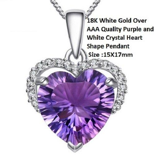 US 18K White Gold- Over High End Violet Purple AAA Quality Crystal Heart Shape German Silver Pendant