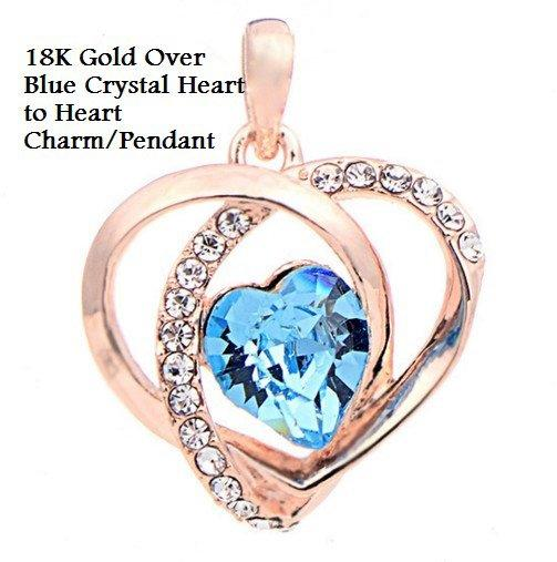 US 18K Gold-Over Blue Crystal Heart to Heart Fashion German Silver Charm/Pendant