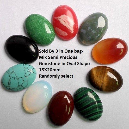 Sold By 3 in One bag- Mix Semi Precious Gemstone in Oval Shape 15X20mm German Silver Pendant