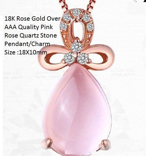 US 18K Rose Gold- Over AAA Quality Pink Rose Quartz Stone German Silver Pendant/Charm Size :18X10mm