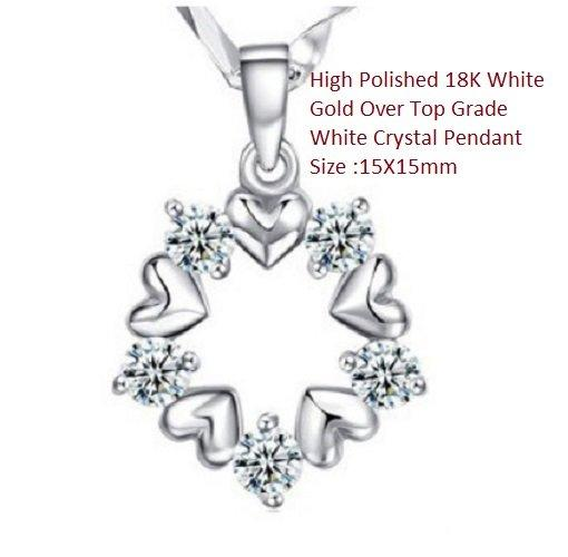 USHigh Polished 18K White Gold- Over Top Grade White Crystal German Silver Pendant