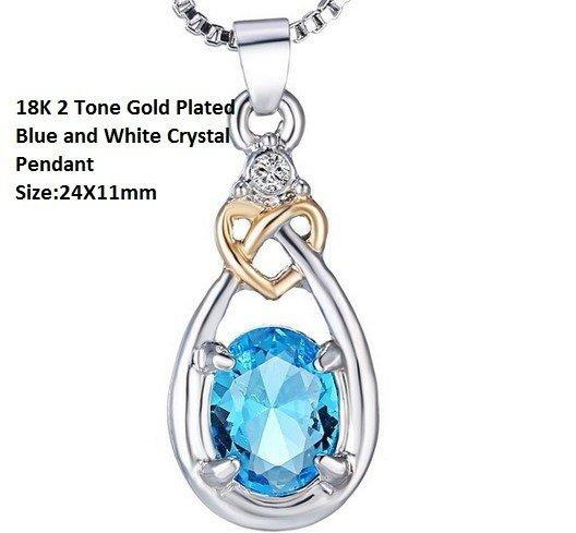 US 18K 2 Tone Gold- Plated Blue and White AAA Grade Crystal German Silver Pendant