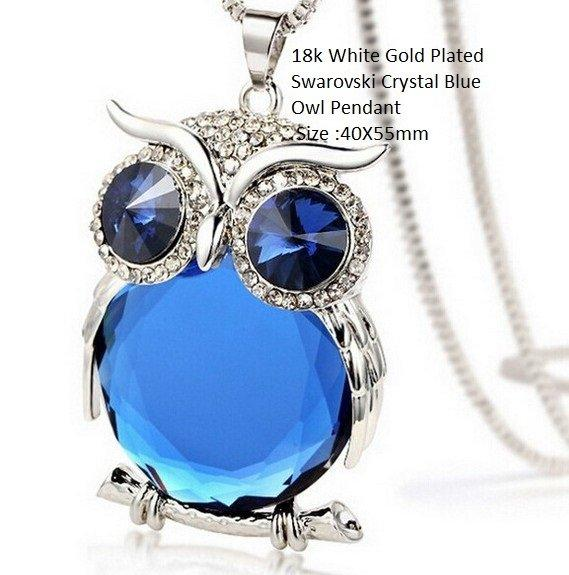 18k White Gold- Plated Swarovski Crystal Blue Owl German Silver Pendant Size :40X55mm