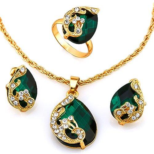 14KT High Quality Gold- plated green Zicron Necklace Earring Ring German Silver Jewelry Set