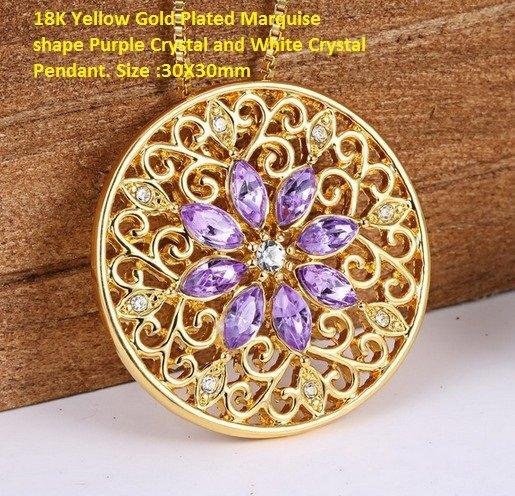 US 18K Yellow Gold- Plated Marquise shape Purple Crystal and White Crystal German Silver Pendant