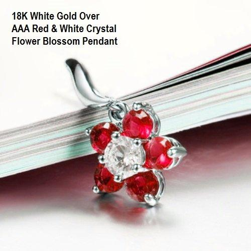 US/HK 18K White Gold- Over AAA Red & White Crystal Flower Blossom German Silver Pendant